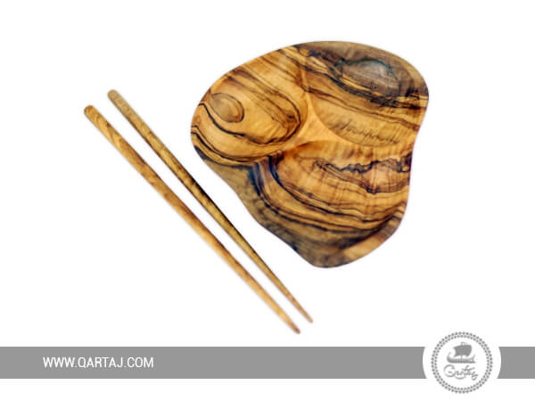 Tunisian Handmade Olive Wood Appetizer Plate with chopsticks