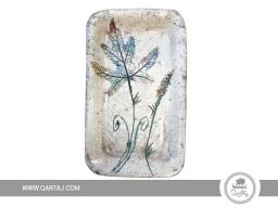 Hand painted rectangular plate with a leaf motif