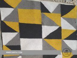 Yellow, grey and white handmade carpet