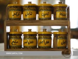 olive wood spice rack eight containers set arab calligraphy fairtrade handmade tunisia