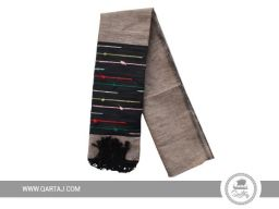 Hand-woven scarf with colorful stripes.