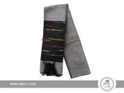 Grey striped scarf made by Kerkenniens.
