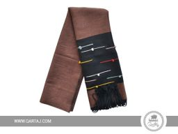 Brown neck scarf.