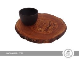 round rustic olive wood board made in tunisia