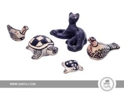 qartaj-set-of-sejnan-pottery-statues-black-cat-2-pigeons-2-turtles