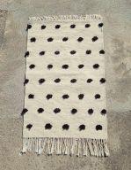 qartaj small white black pompom amazigh berber rug