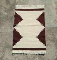 qartaj small geometric triangle amazigh kilim rug dark brown white