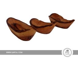 set of three rustic small olive wood bowls made in tunisia