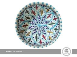 handpainted-ceramic-handmade-bowl-dark-blue-pattern-moroccan-traditional-Multi-Colors-Orange-red-green-blue-White.