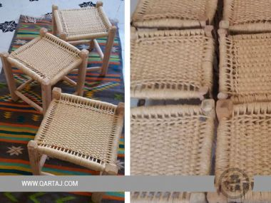 Square Wooden Leg Stool, Handwoven Halfa Grass Fiber Stool