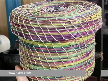 Colorful Halfah Grass Basket, Fair trade