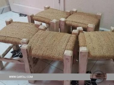 Wooden Handwoven Stool, Fair Trade