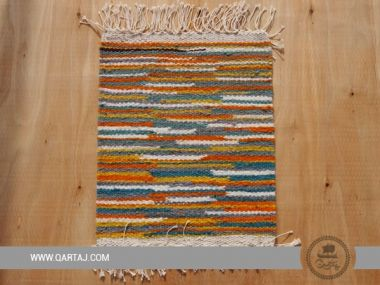 Colorful striped Kesra carpet, handmade with love