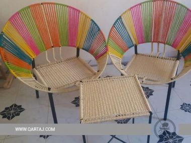 Handmade Table & Chair Set, Vegetal Fiber