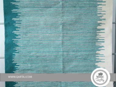 Modern Waves Design Kilim Area Rug Turquoise and White