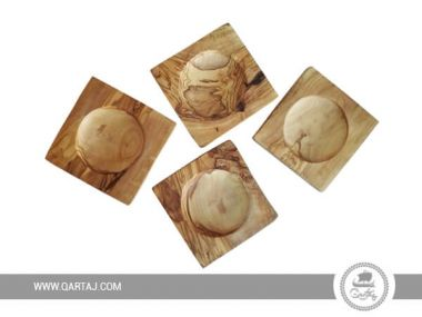 Olive Wood Coaster Set Of Four