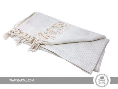 Fouta Towel With Lurex Stripes, White/Gold