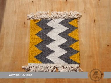 Yellow, White and Gray Zigzag carpet, handmade in Siliana