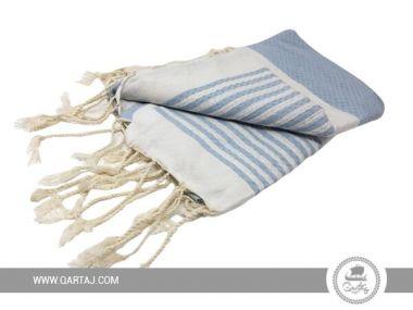 Striped Blue & White Fouta Towel, Fair Trade