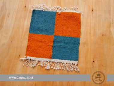 Square turquoise and orange carpet from Kesra Artisans