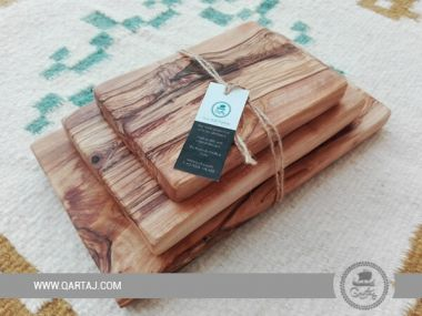 Natural Handcrafted Rectangular Cutting/Serving Boards Set, Fair Trade