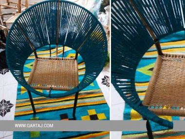 Handmade Blue and light Brown Hoop chair