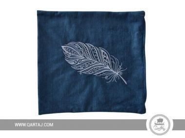 Blue decorative square cover pillow.