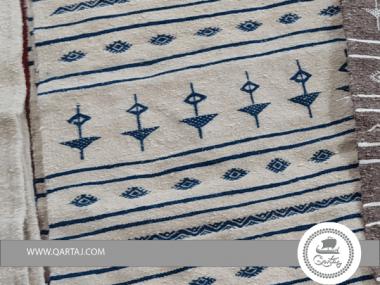 Blue Amazigh Berber Pattern White Base Rug