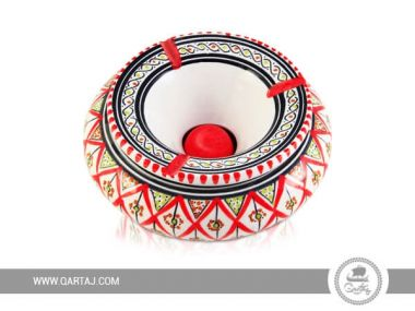Decorated Ashtray hand-painted red and white ceramics made in Tunisia