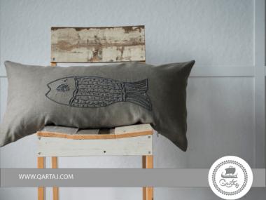 BASE CLOTH 100% NATURAL LINEN EMBROIDERY FISH