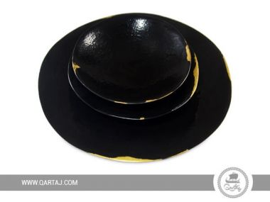Black and gold set of serving plates, handmade in Tunisia.