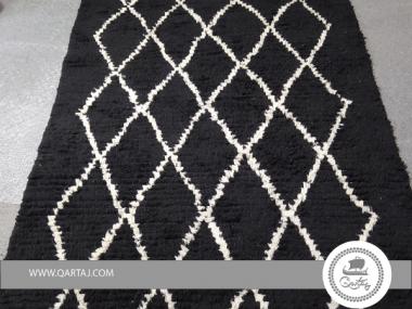 High Pile Black and White Diamond Rug