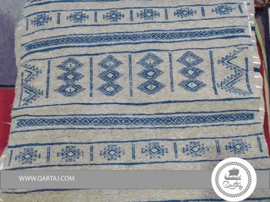 Blue Amazigh Berber Pattern Grey Base Rug