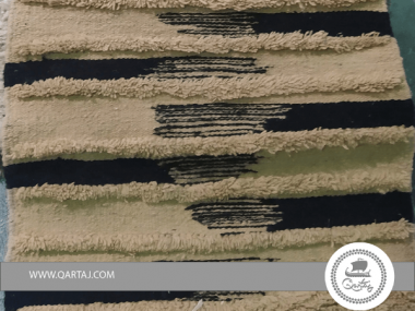 Black and White High Pile Stripes Textured Rug