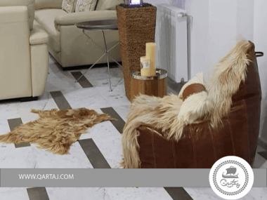 CANVAS CHAIR Brown Goatshair & Goat leather