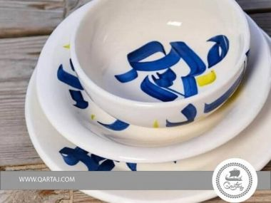 Dinnerware Sets Round Serving Deep Plates, Bowls,  ceramic jasmine E mixed blue