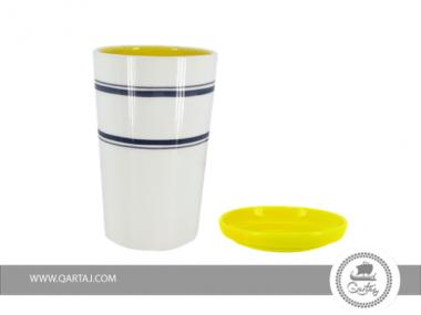 Cups Ekho Design, regular form Hand-painted white ceramics