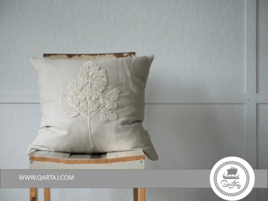Cushion with leaf  EMBROIDERY Handmade Tilli Tanit