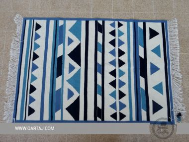Triangles Wool Kilim From Sejnan Rug in Blue and white