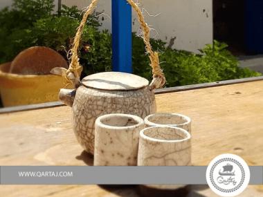El Houch, Tea/Coffee Set Ceramics handmade Raku