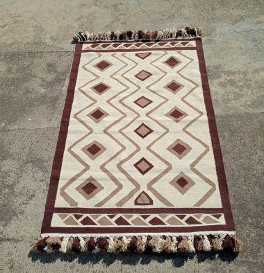 Amazigh Berber Geometric Kilim Rug Brown and Beige