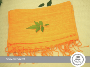 Linen Green, Orange, Yellow scarves with embroidery Handmade