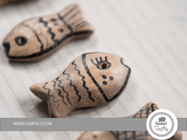 Sejnenia Natural large fish charm handpainted Pottery