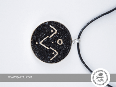 Necklace, Micro Mosaic, silver and leather hand craved
