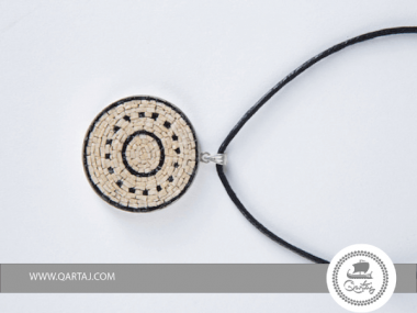 Necklace, Micro Mosaic, silver and leather hand craved  and Applied Natural Stone Mosaic