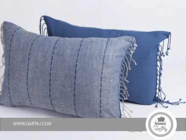 Pillows Blue covers 100% linen handwoven, ceramics and embroidery handmade