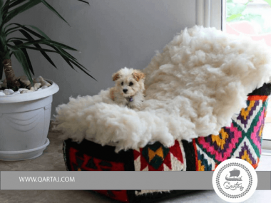 Poof BEANBAG DUC With klim wool and natural brown goatskin in seat