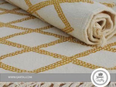 Rug white golden diamond handmade Tunisia