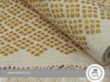 Rug white golden small diamond, handmade in Tunisia