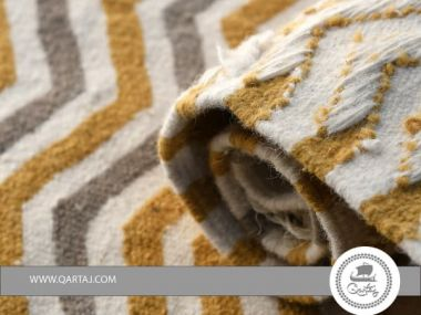 Rug white , grey, golden, stripe